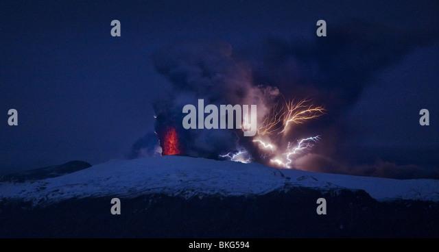 Lightning  and Lava in ash cloud during Eyjafjallajokull Volcanic Eruption,  Iceland April 18, 2010 - Stock-Bilder