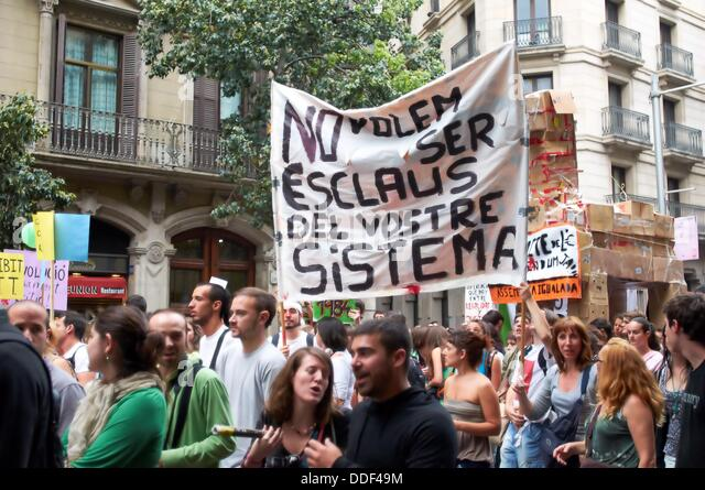 -Indignants Movements 15M- Barcelona (Spain). - Stock Image