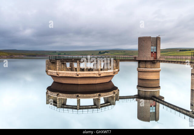 Overflow of Balderhead Reservoir in Dry Weather Baldersdale, Teedale, County Durham, UK - Stock Image
