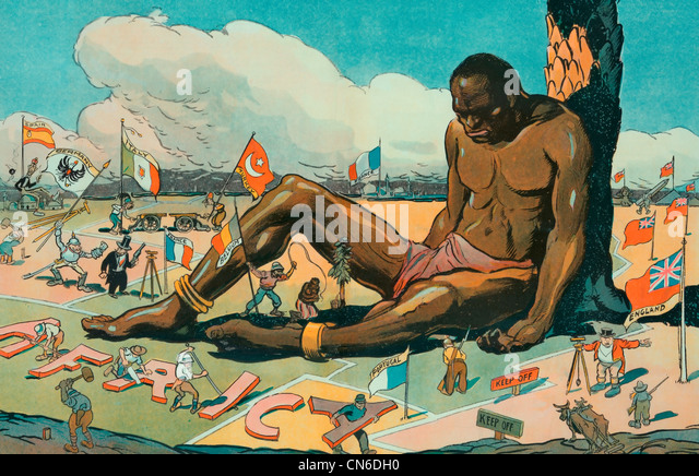 The Sleeping Sickness Illustration shows a large African man sitting, asleep, while European countries stake their - Stock-Bilder
