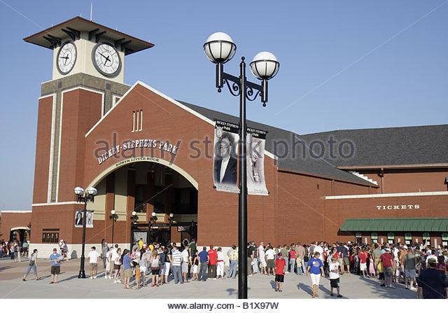 Arkansas North Little Rock Dickey Stephens Park minor league baseball Arkansas Travelers stadium clock tower ballpark - Stock Image