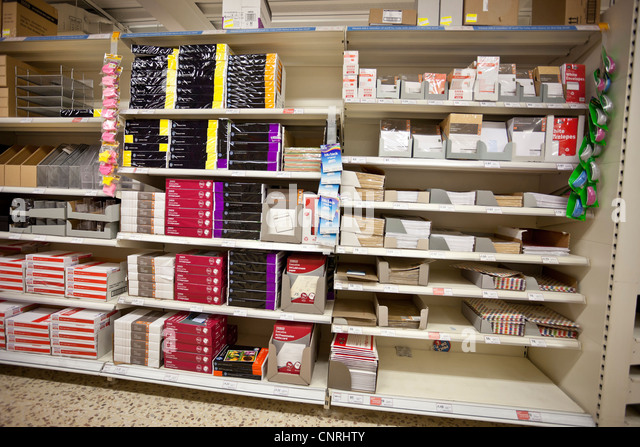 Stationary shelves in a shop, London, England, UK - Stock Image