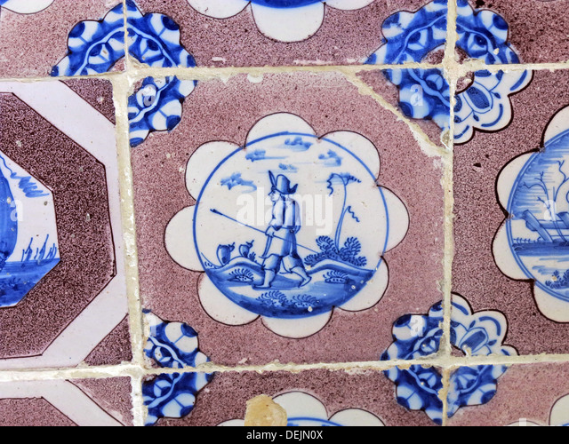 Dutch tiles in bathroom at Barrington Court, Ilminster, Somerset , UK TA19 0NQ - Stock Image