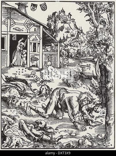 Werewolf attack, by Lucas Cranach the Elder, 1512 - Stock Image