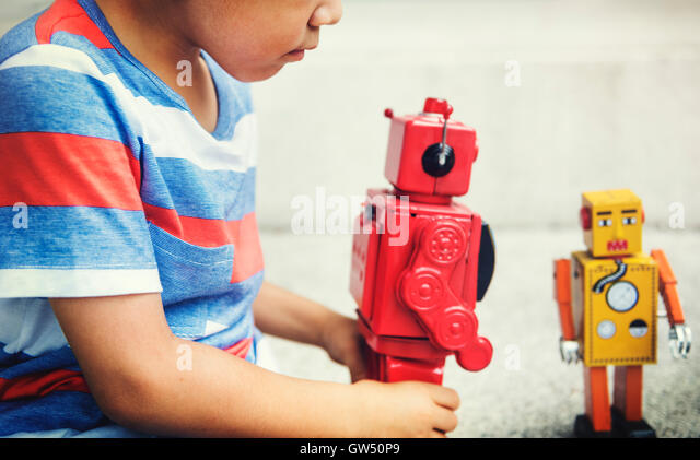Boy Kid Child Young Adorable Cheerful Concept - Stock Image
