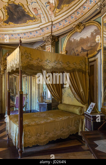 The National Palace of Queluz - Lisbon - Portugal. The Don Quixote Bed Chamber. This was the royal bedroom where - Stock Image