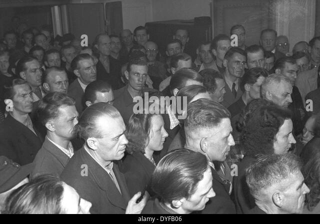 Workers of the East German State Railway during the ballot vote about the continuation of the strike om West Berlin, - Stock Image