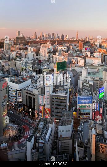 Elevated view of Shinjuku skyline from Shibuya, Tokyo, Japan, Asia - Stock Image