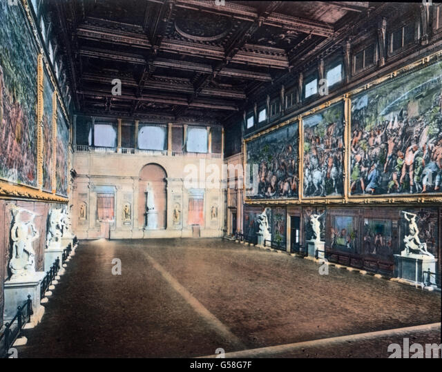 Im ersten Stockwerk ist der Saal des großen Volksrates, meist Sala del Cinquecento, Saal der Fünfhundert - Stock Image