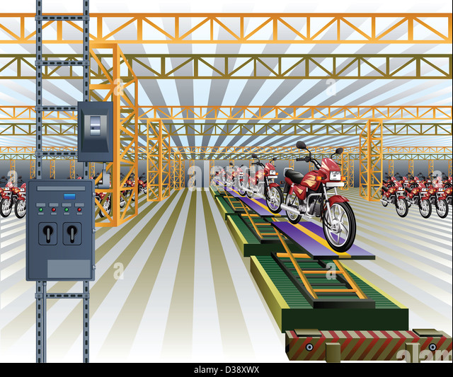 Motorcycles on production line in a factory - Stock Image