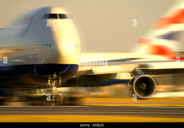 Boeing 747 with motion blur - Stock Image