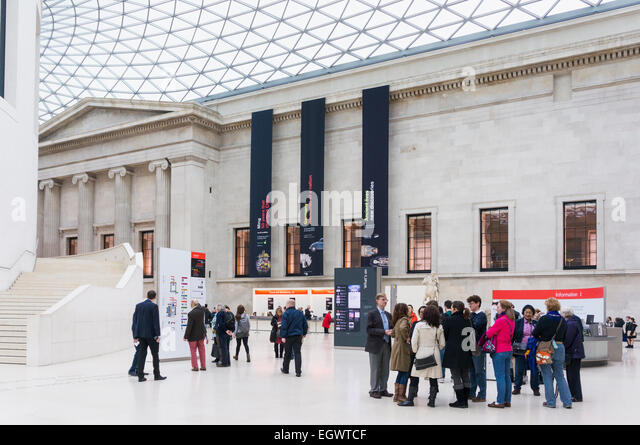 Foyer of British Museum, London, England, UK with tourists - Stock Image
