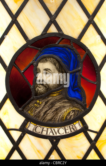 Chaucer stained glass - Stock Image