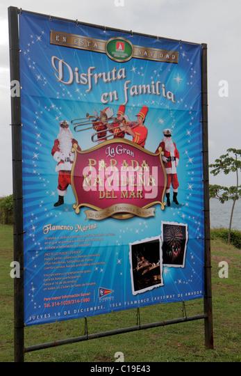Panama Panama City Amador Causeway Calzada de Amador Bahia de Panama Panama Canal Isla Flamenco outdoor sign Christmas - Stock Image