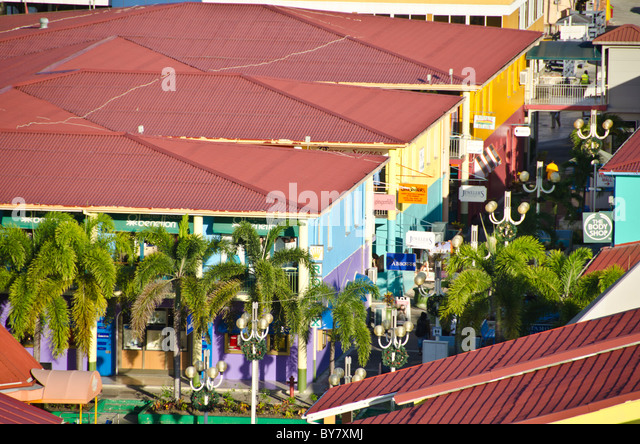 Looking down on red roofs and shops of Heritage Quay, St Johns, Antigua - Stock Image