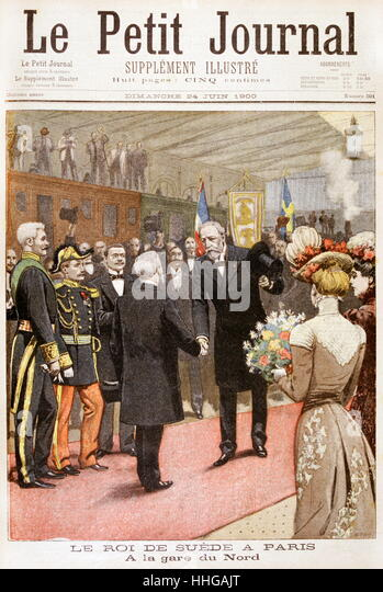 Oscar II, King of Sweden visits France. 1900, to visit the Universal Exposition. - Stock Image