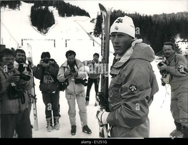 Jan. 01, 1987 - Crans Montana: Ski World Championship; Pirmin Zurbriggen Switzerland's most popular downhill - Stock Image