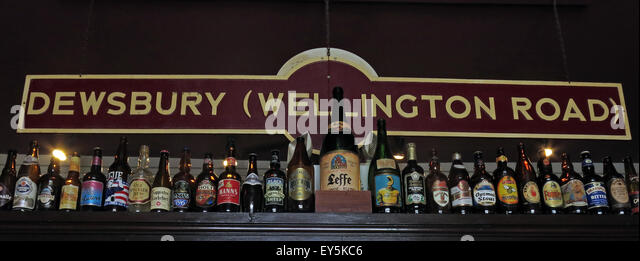 Dewsbury Railway Station Sign, Kirklees, Huddersfield,West Yorkshire,England,UK - Stock Image