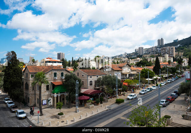 A view of the German colony neighborhood in Haifa. - Stock Image