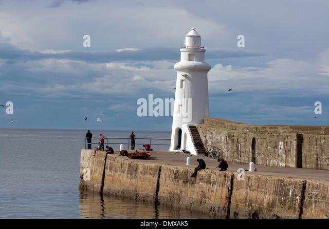 macduff lighthouse sea angling pier moray coast - Stock Image