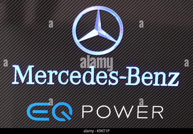 Mercedes-Benz promoted hybrid cars under the logo and brand EQ Power at the Frankfurt Motor Show 2017 in Germany - Stock Image