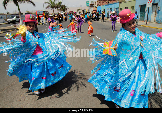 Chile Arica Avenida Pedro Montt Carnaval Andino Andean Carnival parade indigenous Aymara heritage folklore celebration - Stock Image