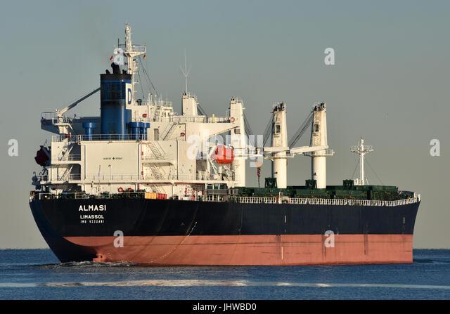 Bulkcarrier Almasi leaving the Kiel Fjord heading for Baltic sea - Stock Image