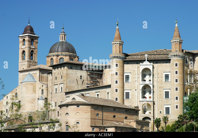 The spectacular castle of the Dukes of Montefeltro in Urbino Le Marche  Italy - Stock Image