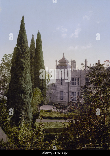 Ukraine (part of Russia at the time of the photograph). The Imperial Castle, Alupku, Crimea, photochrom, circa 1900. - Stock Image
