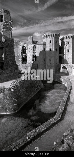 The moat at Raglan Castle Monmouthshire Wales,UK B/W vertical - Stock Image