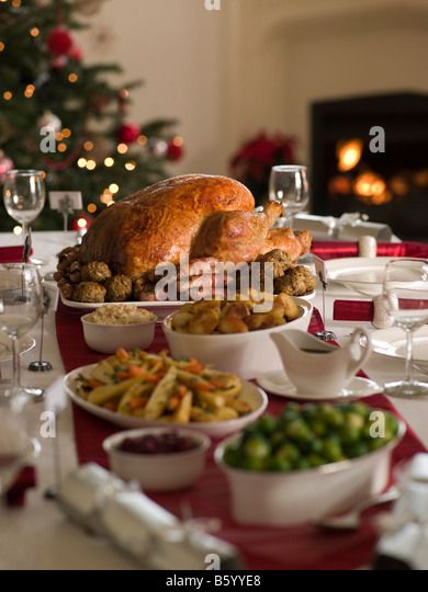 Roast Turkey Christmas Spread - Stock Image