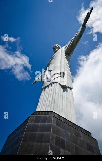 Christ the Redeemer (Cristo Redentor) statue Corcovado Rio de Janeiro, Brazil - Stock Image