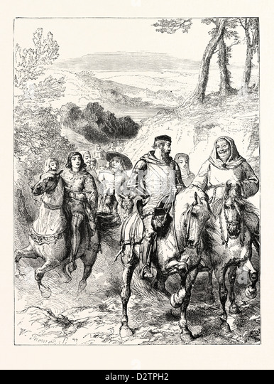CHAUCER'S PILGRIMS TRAVELLING TO CANTERBURY. - Stock Image