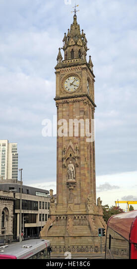 Albert memorial Clock Tower,Queens Square,Belfast, Northern Ireland, UK - Stock Image