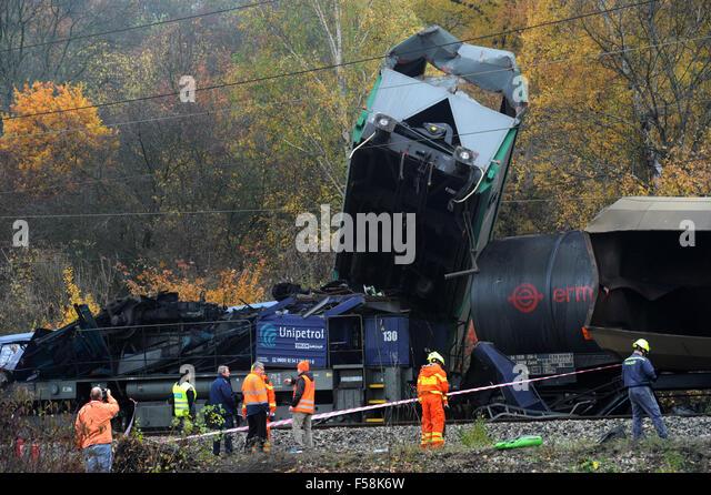 Velvety, Czech Republic. 30th Oct, 2015. Two cargo trains had a head-on collision near Velvety, Czech Republic, - Stock Image