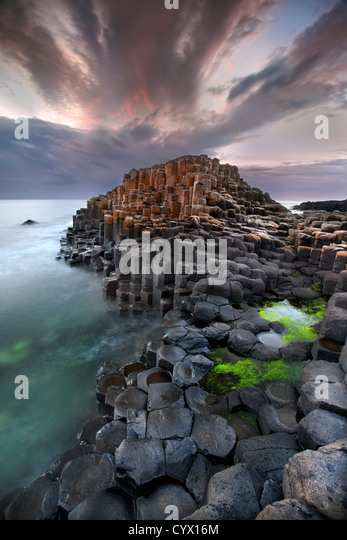 The Giants Causeway at dusk. Northern Ireland. - Stock-Bilder