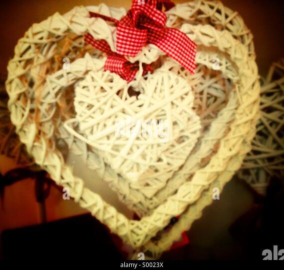 Happy Valentine, heart shaped wicker merchandise - Stock-Bilder