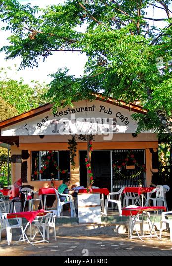 Chile Easter Island Hanga Roa Outdoor Cafe Restaurant - Stock Image