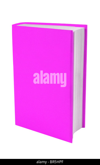 Book with  pink/purple cover cutout on a white background with copy space around or on the book. - Stock Image
