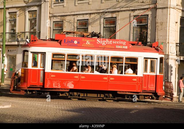 Portugal Lisbon Portugal Lisbon Tram Electrico Strassenbahn Baixa - Stock Image