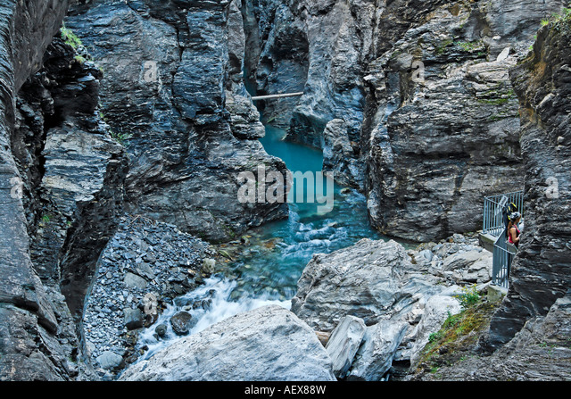 Switzerland Canton of grisons Rhein river at Via Mala canyon - Stock Image