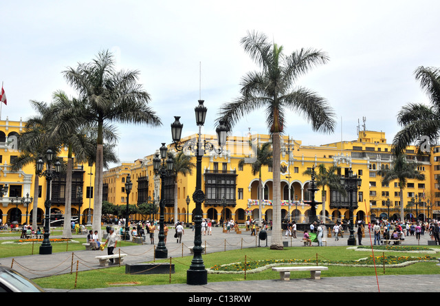 Plaza Mayor  plaza de Armas Lima Peru South America - Stock Image