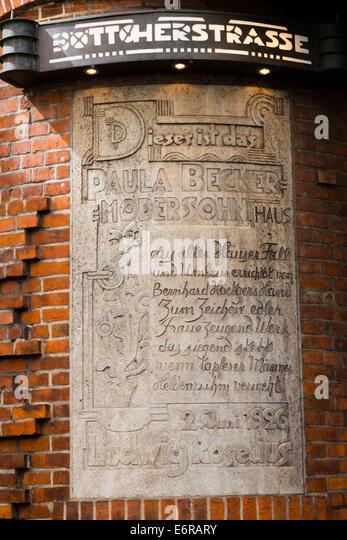 Detail from the Paula Becker Modersohn house, Bottcherstrasse, Bremen, Germany - Stock Image