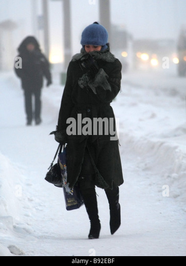 Minus 30 degrees centigrade in Novy Urengoi - Stock Image