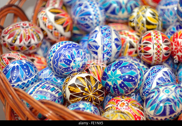 Traditional easter eggs hand painted - Stock-Bilder