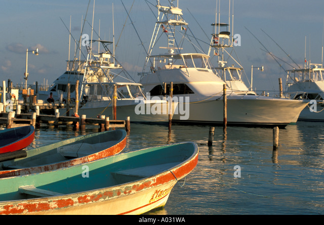 Mexico Yachts small local fishing boats isla mujeres - Stock Image