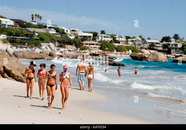 south africa cape town clifton beach girls - Stock Image