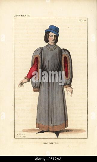 Bourgeois man, 14th century. - Stock Image