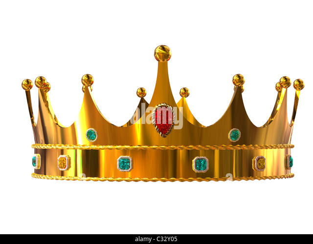 Golden crown isolated on white background - Stock Image