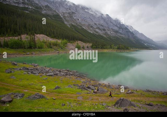 A young asian woman trail running along the shores of Medicine Lake, Jasper National Park, Alberta, Canada - Stock Image